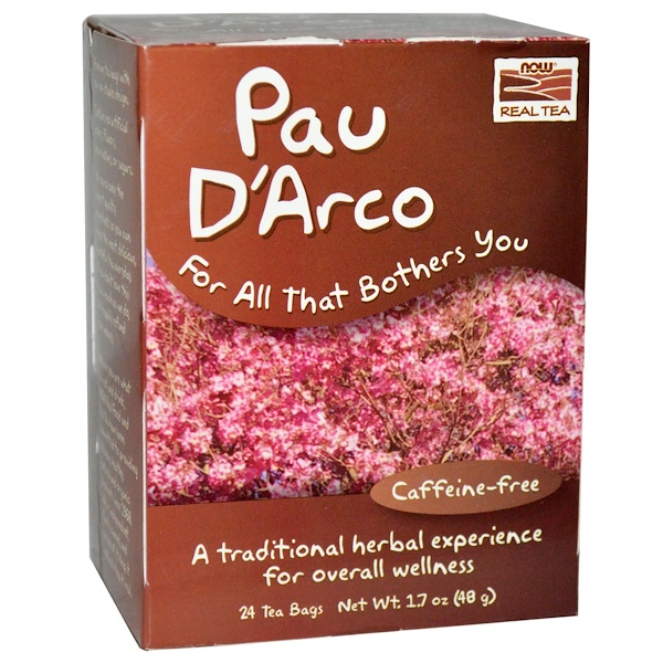 Now Foods, Real Tea, Pau D'Arco, Caffeine-Free, 24 Tea Bags, 1.7 oz (48 g)