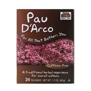 Now Foods, Real Tea, Pau D'Arco, Caffeine-Free, 24 Tea Bags, 1.7 oz (48 g) отзывы покупателей