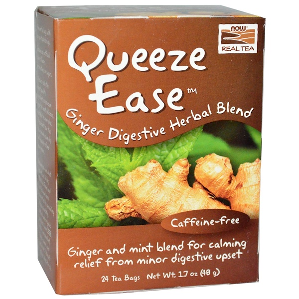 Now Foods, Real Tea, Queeze Ease, Ginger Digestive Herbal Blend, Caffeine-Free, 24 Tea Bags, 1.7 oz (48 g) (Discontinued Item)