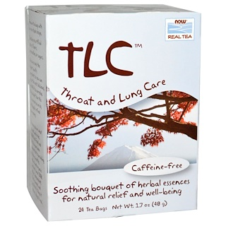 Now Foods, Real Tea, TLC, чай для горла и легких, без кофеина, 24 пакетика, 1,7 унции (48 г)