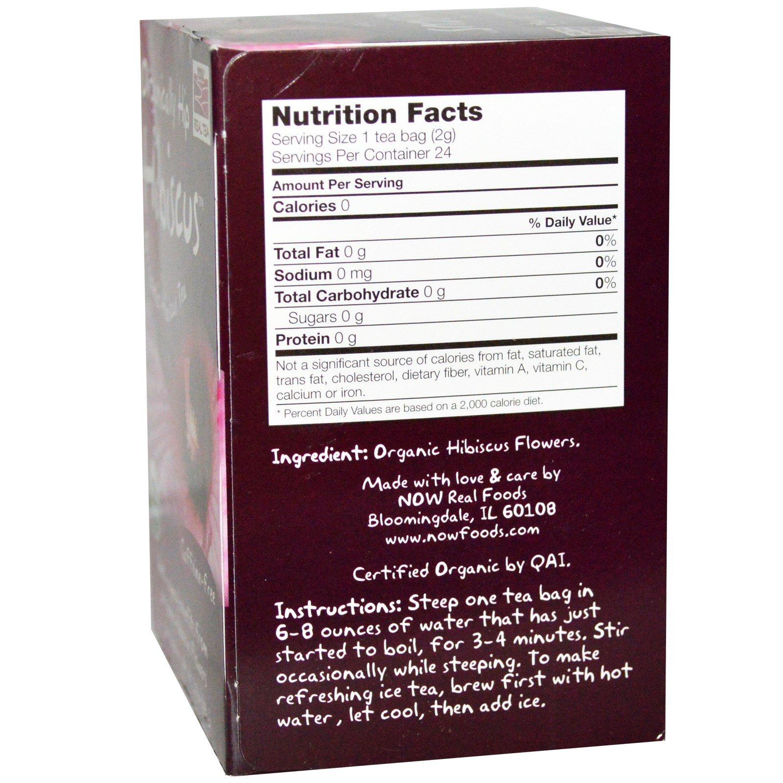 Now Foods Organic Real Tea Organically Hip Hibiscus Caffeine Free