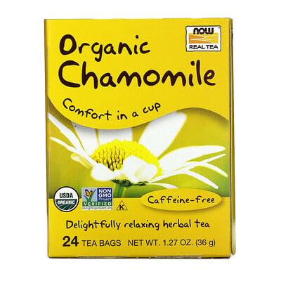 Купить Now Foods Organic Real Tea, Chamomile, Caffeine Free, 24 Tea Bags, 1.5 g Each