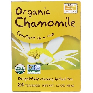 Now Foods, Organic Chamomile, 24 Tea Bags, 2 g Each