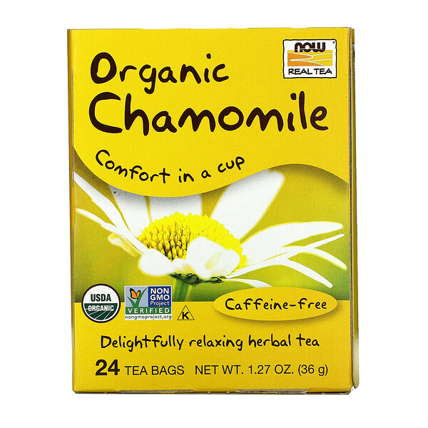 Now Foods, Organic Real Tea, Chamomile, Caffeine Free, 24 Tea Bags, 1.5 g Each