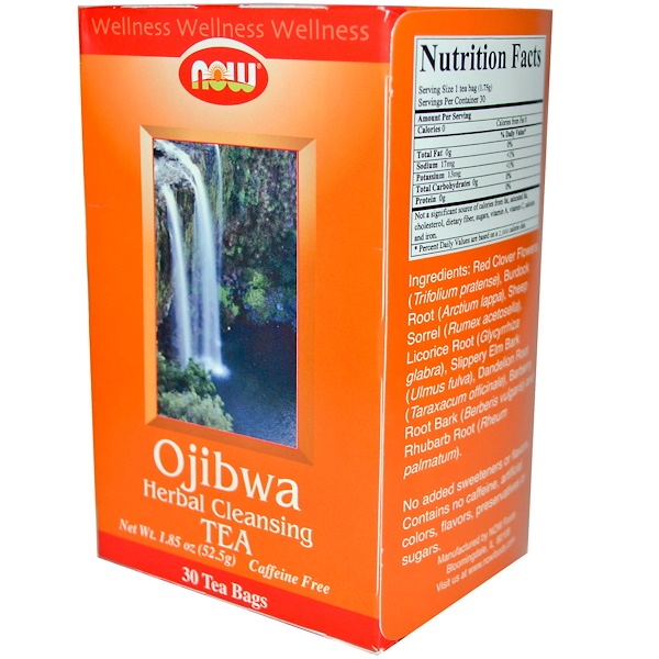 Now Foods, Ojibwa Herbal Cleansing Tea, Caffeine Free, 30 Tea Bags, 1.85 oz (52.5 g) (Discontinued Item)