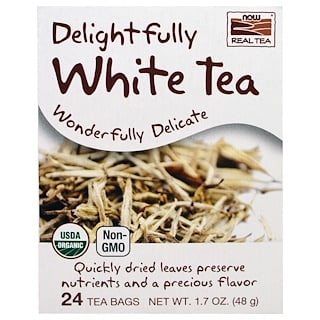 Now Foods, Organic Real Tea, Delightfully White, 24 Tea Bags, 1.7 oz (48 g)