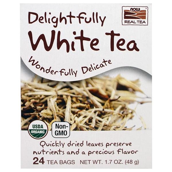 Now Foods, 有機真茶,令人愉快的白茶,24茶袋,1、7盎司(48克)