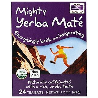 Now Foods, Organic Real Tea, Mighty Yerba Mate, 24 Tea Bags, 1.7 oz (48 g)