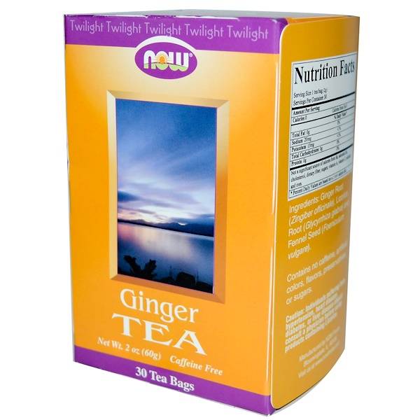 Now Foods, Twilight, Ginger Tea, Caffeine Free, 30 Tea Bags (Discontinued Item)