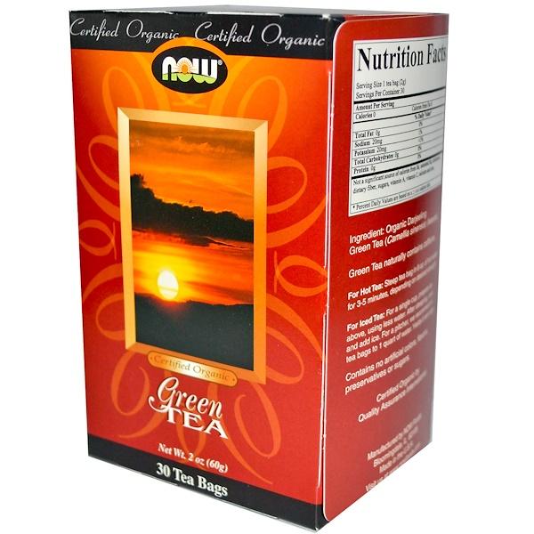 Now Foods, Certified Organic, Green Tea, 30 Tea Bags, 2 oz (60 g) (Discontinued Item)