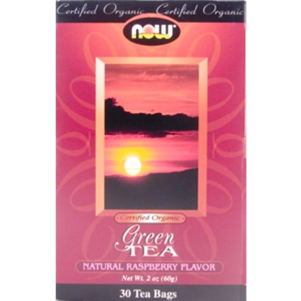 Now Foods, Green Tea, Natural Raspberry Flavor, Certified Organic, 30 Tea Bags, 2 oz (60 g) (Discontinued Item)