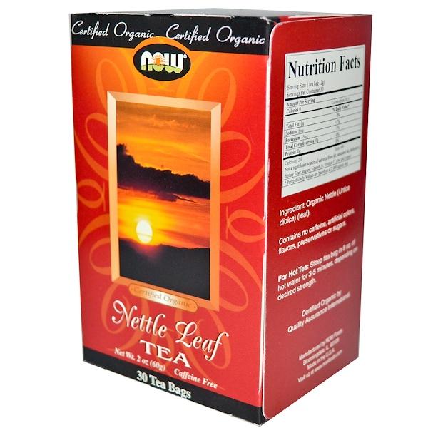 Now Foods, Organic, Nettle Leaf Tea, Caffeine Free, 30 Tea Bags,  2 oz (60 g) (Discontinued Item)