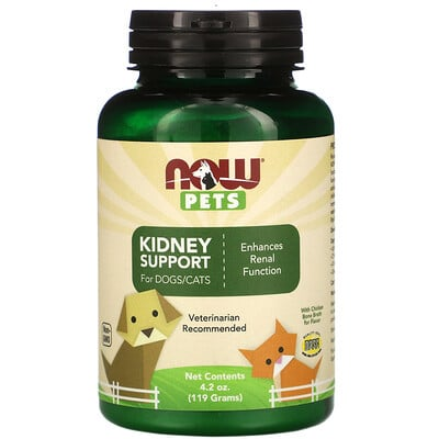 Купить Now Foods Pets, Kidney Support Powder for Dogs & Cats, 4.2 oz (119 g)