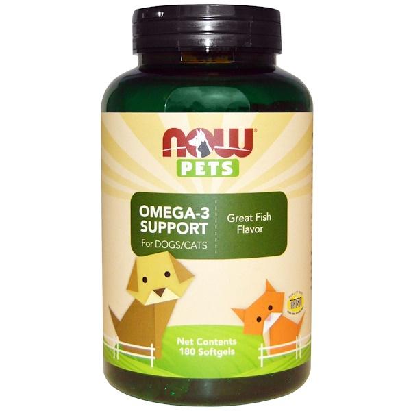 Now Foods, Ahora mascotas, Complemento de Omega-3 para perros y gatos, Delicioso sabor a pescado, 180 cápsulas de gel suave