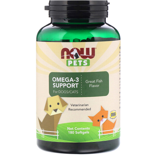 Pets, Omega-3 Support for Dogs/Cats, Great Fish Flavor, 180 Softgels