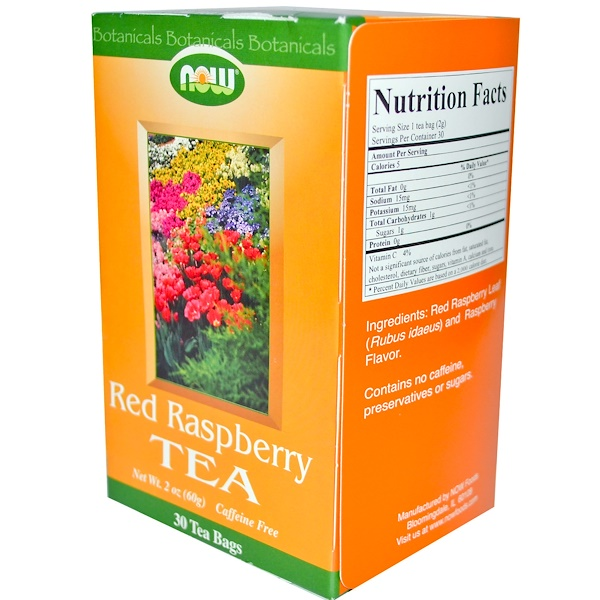 Now Foods, Red Raspberry Tea, Caffeine Free, 30 Tea Bags, 2 oz (60 g) (Discontinued Item)