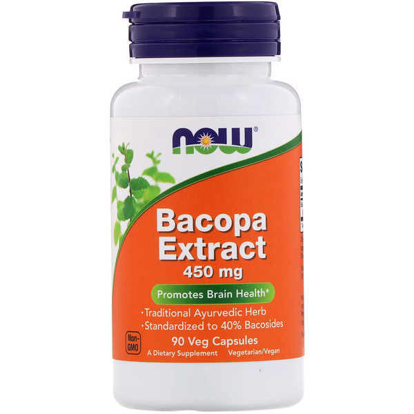 Now Foods, Extracto de bacopa, 450 mg, 90 cápsulas vegetarianas