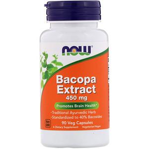 Now Foods, Bacopa Extract, 450 mg, 90 Veg Capsules отзывы покупателей