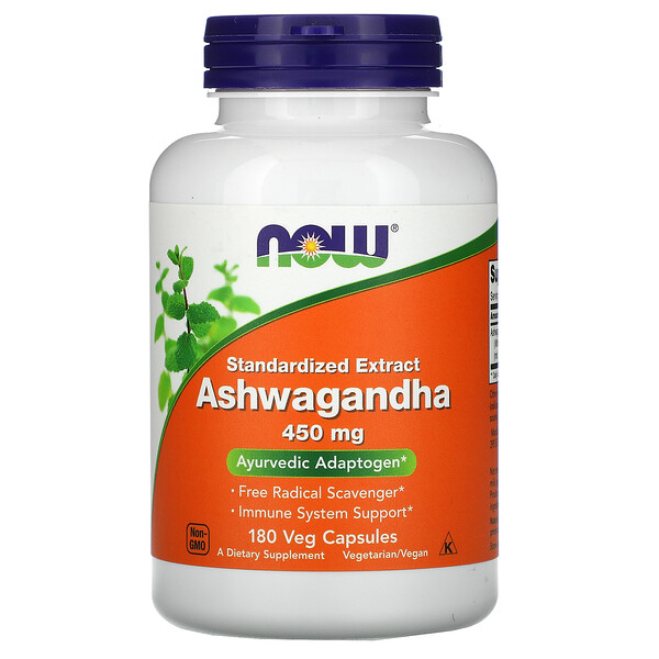 Now Foods, Standardized Extract Ashwagandha, 450 mg, 180 Veg Capsules