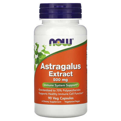 Now Foods Экстракт астрагала, 500 мг, 90 растительных капсул