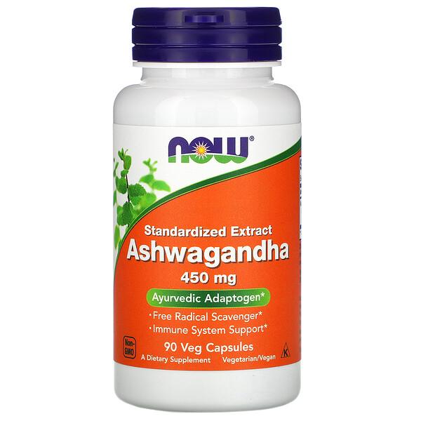 Now Foods, Ashwagandha, Standardized Extract, 450 mg, 90 Veg Capsules