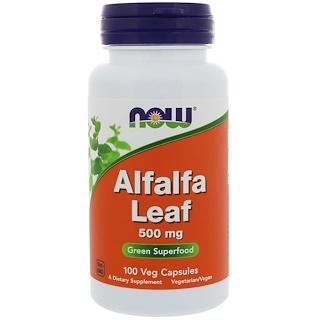 Now Foods, アルファルファリーフ、500 mg、植物性カプセル100粒