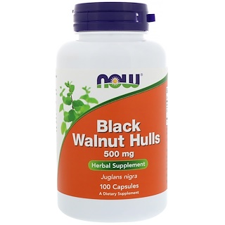 Now Foods, Cáscara de nuez negras, 500 mg, 100 Cápsulas