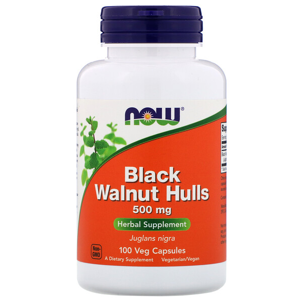 Black Walnut Hulls, 500 mg, 100 Veg Capsules