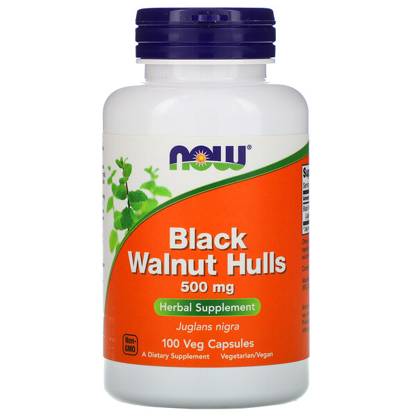 Now Foods, Black Walnut Hulls, 500 mg, 100 Veg Capsules