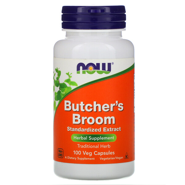 Now Foods, Butcher's Broom, 100 Veg Capsules (Discontinued Item)