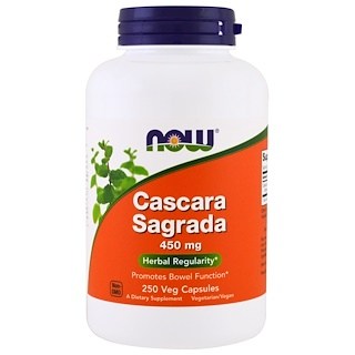 Now Foods, Cáscara Sagrada, 450 mg, 250 Cápsulas Vegetais