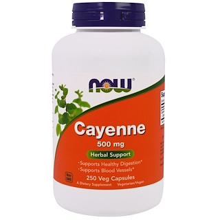 Now Foods, Cayena, 500 mg, 250 cápsulas vegetales