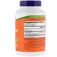 Now Foods, シナモンの樹皮, 600 mg, 240カプセル