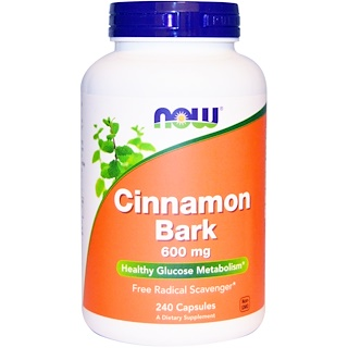 Now Foods, Cinnamon Bark, 600 mg, 240 Capsules