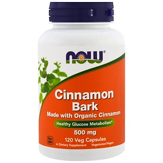 Now Foods, Cinnamon Bark, 500 mg, 120 Veggie Caps