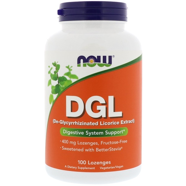 Now Foods, DGL, (De-Glycyrrhizinated Licorice Extract), 100 Lozenges