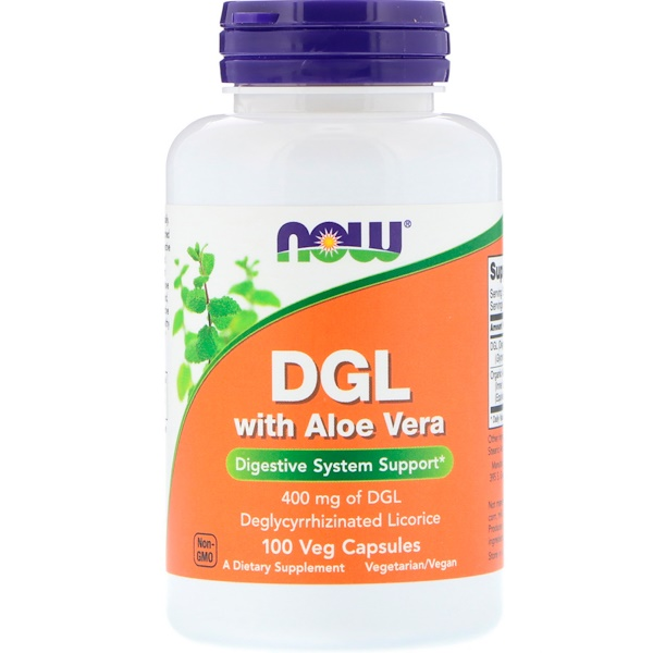 Now Foods, DGL com Aloe Vera, 400 mg, 100 Cápsulas Vegetais