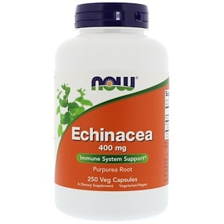 Now Foods, Echinacea, 400 mg, 250 cápsulas vegetales