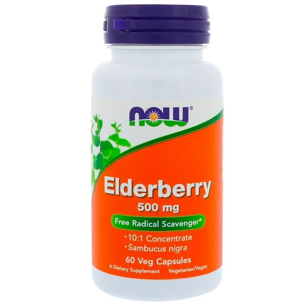 Now Foods, Elderberry, 500 mg, 60 Veg Capsules