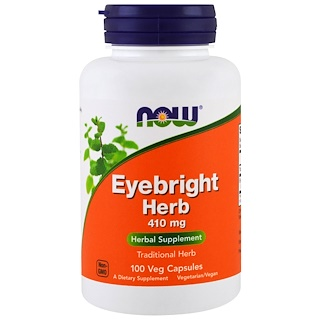 Now Foods, Hierba Eyebright, 410 mg, 100 cápsulas vegetales