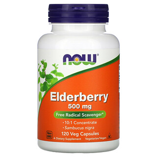 Now Foods, Elderberry, 500 mg, 120 Veg Capsules