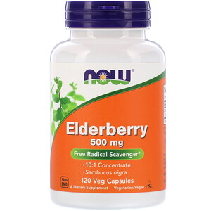 Now Foods, Elderberry, 500 mg, 120 Veg Capsules