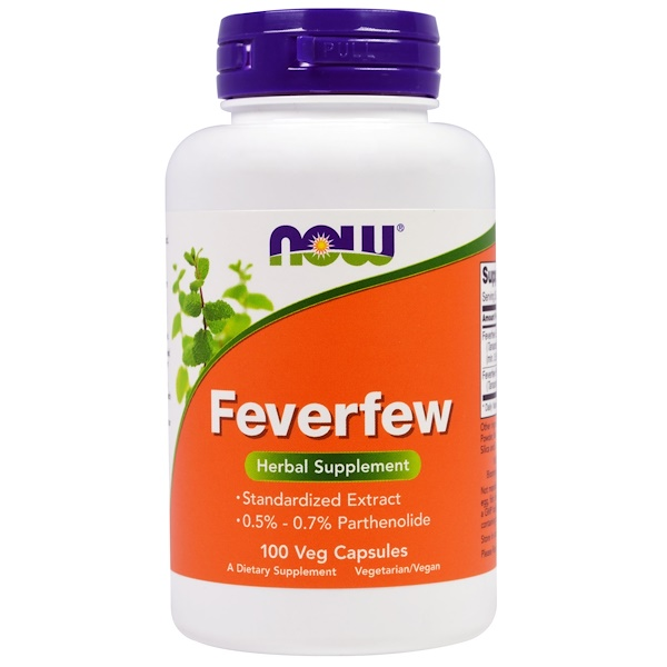 Now Foods, Feverfew, 100 cápsulas