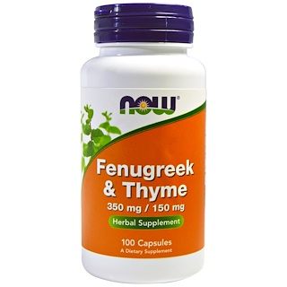 Now Foods, Fenugreek & Thyme, 350 mg/150 mg, 100 Capsules