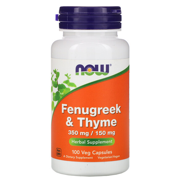 Now Foods, Fenugreek & Thyme, 350 mg/150 mg, 100 Veg Capsules