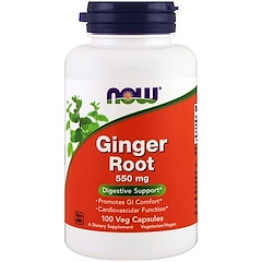 Now Foods, Raíz de jengibre, 550 mg, 100 cápsulas vegetales