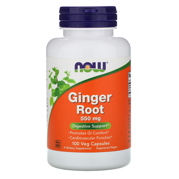 Now Foods, Ginger Root, 550 mg, 100 Veg Capsules