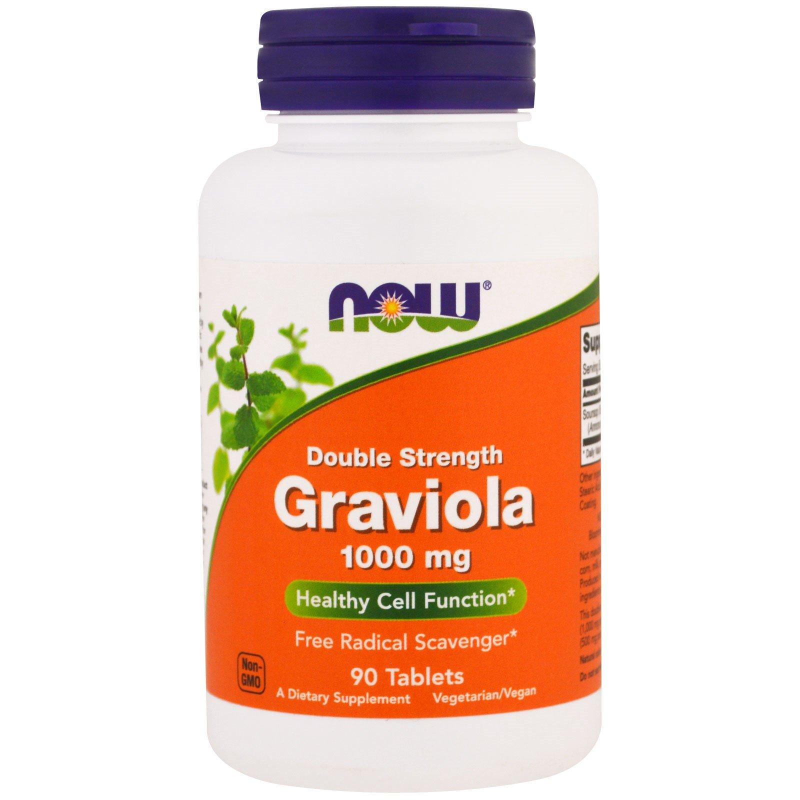 Now Foods, Гравиола, двойная сила, 1000 мг, 90 таблеток