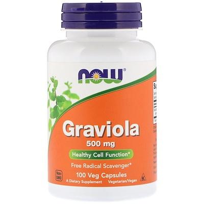 Купить Now Foods Гравиола, 500 мг, 100 растительных капсул