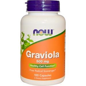 Now Foods, Гравиола, 500 мг, 100 капсул инструкция, применение, состав, противопоказания